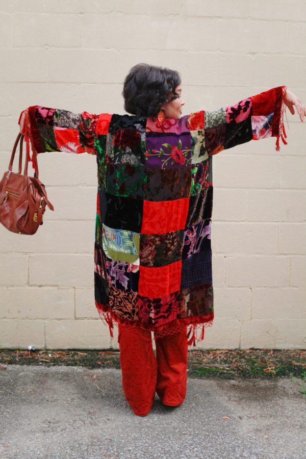 Mosaic-Print-Velvet-Robe