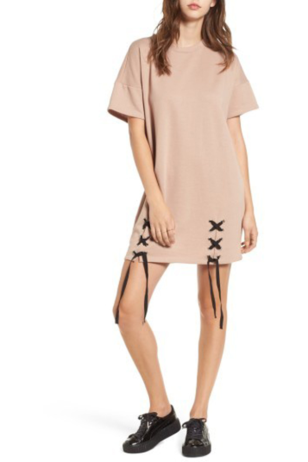 One Clothing Lace-Up Sweatshirt Dress