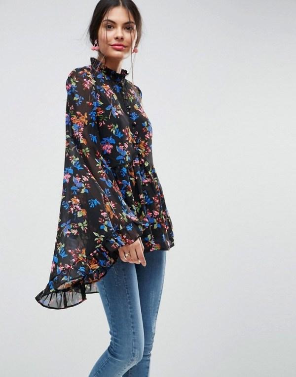 ASOS Kimono Sleeve Blouse In Chiffon In Dark Floral