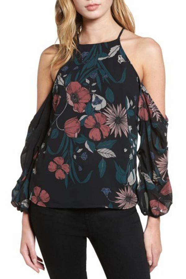 Bardot Poppy Floral Cold Shoulder Top