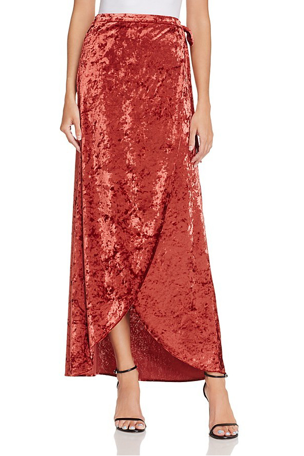 Band of Gypsies Crushed Velvet Wrap Skirt