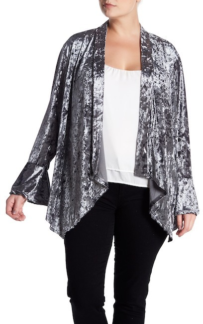 GOOD LUCK GEM Bell Sleeve Crushed Velvet Cardigan (Plus Size)
