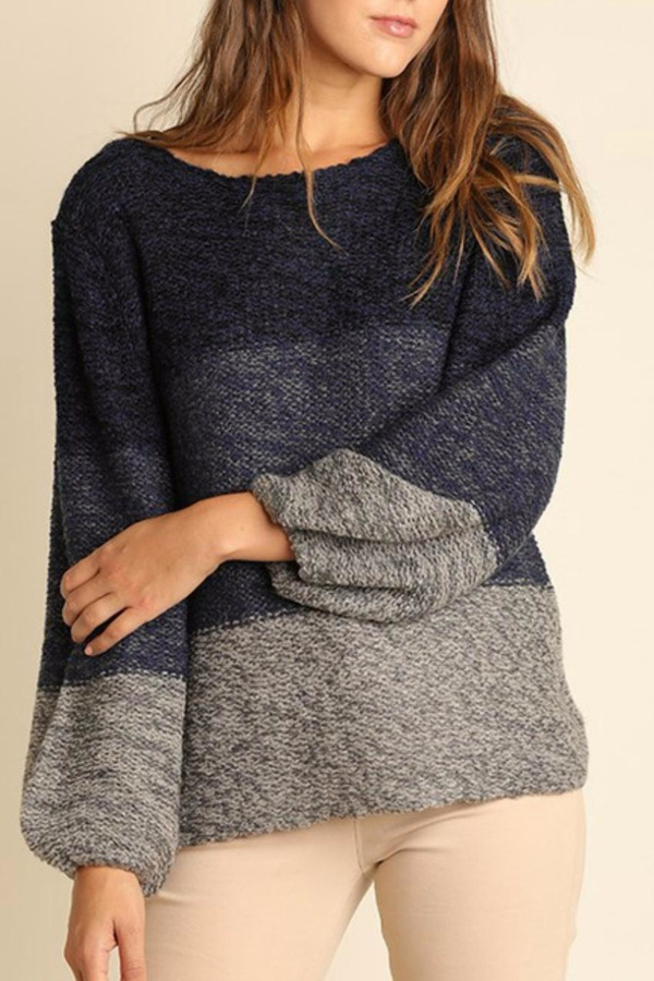 Umgee USA Tonal Cross Back Sweater