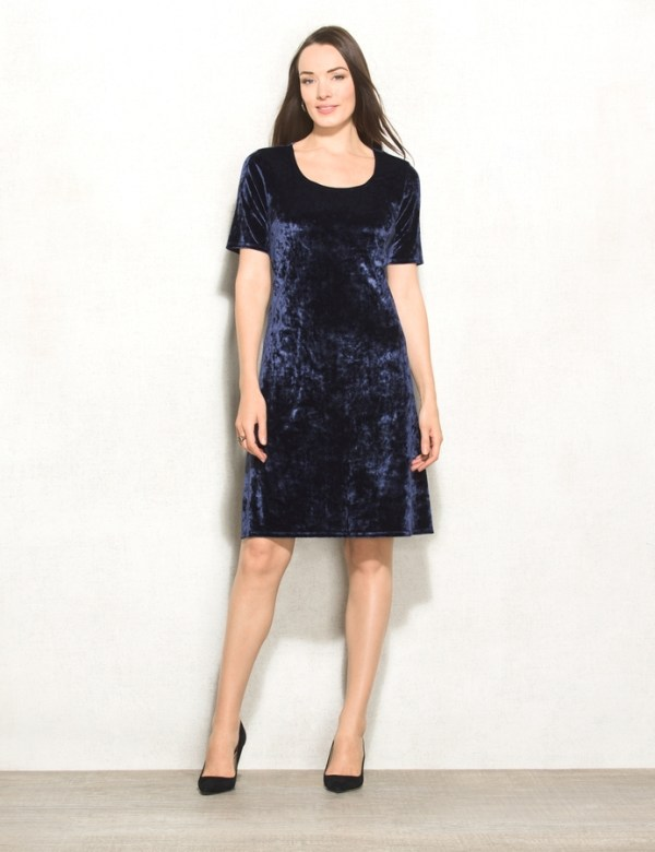 dressbarn Crushed Velvet T-Shirt Dress