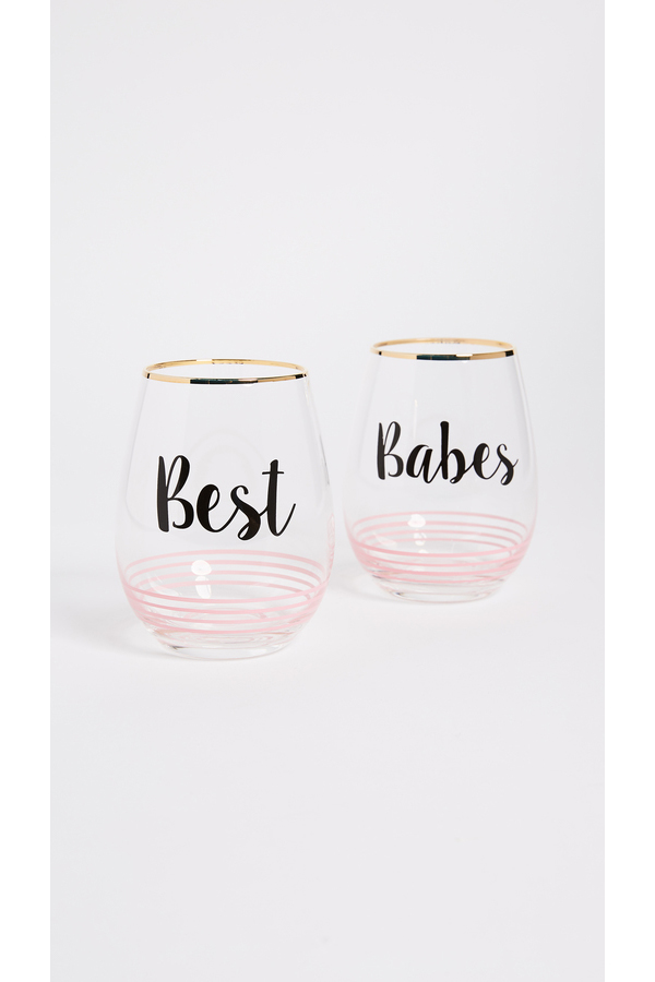 Gift Boutique Best Babes Wine Glass Set of 2