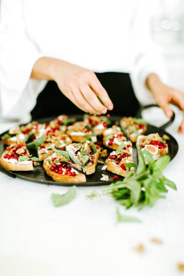 Burrata Toasts with Caramelized Walnusts and Mint Pomegranate Pesto