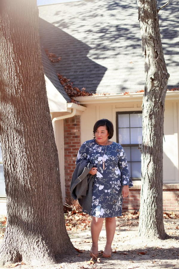 bell-sleeve floral dress