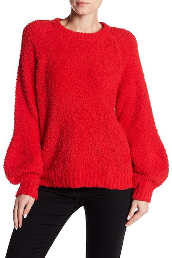 John + Jenn Crop Fuzzy Knit Pullover