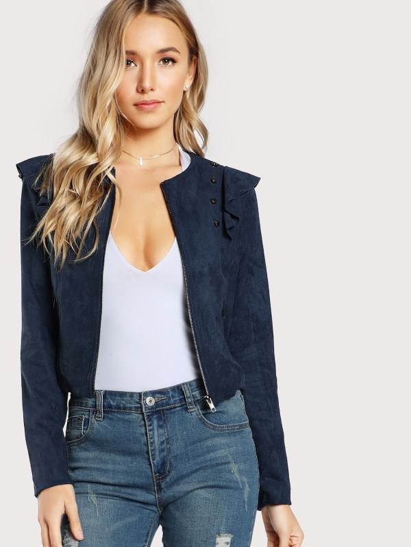 Faux Suede Studded Ruffle Jacket NAVY