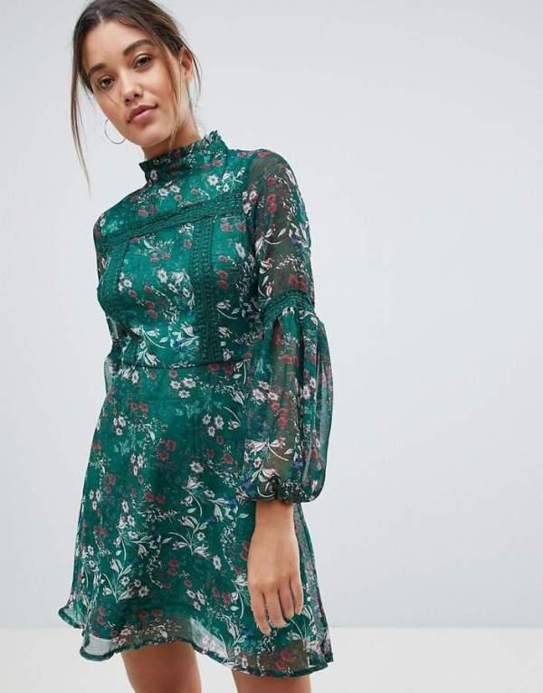 Missguided Floral Print Long Sleeve Skater Dress