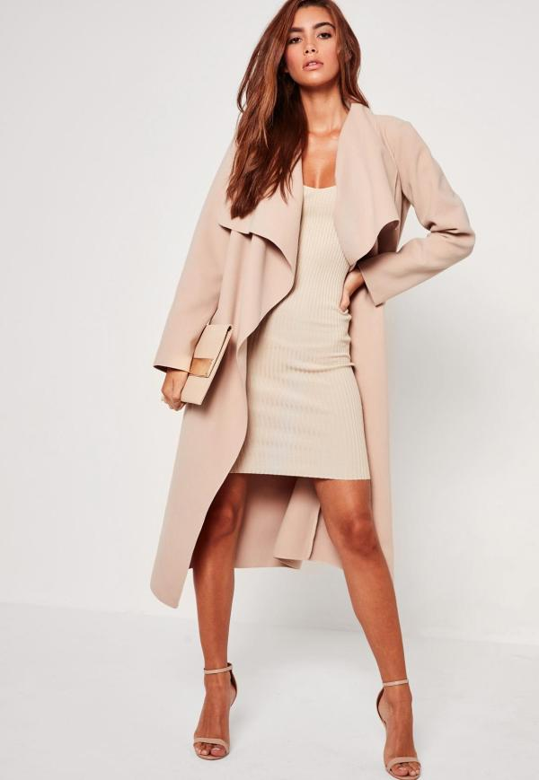 Missguided Oversized Waterfall Duster Coat Nude