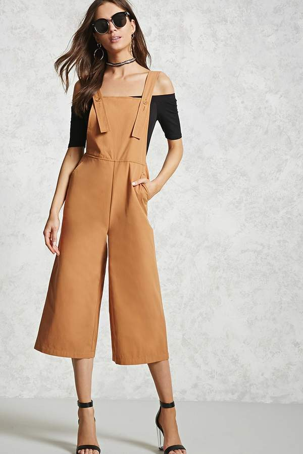 FOREVER 21 Cropped Wide-Leg Overalls