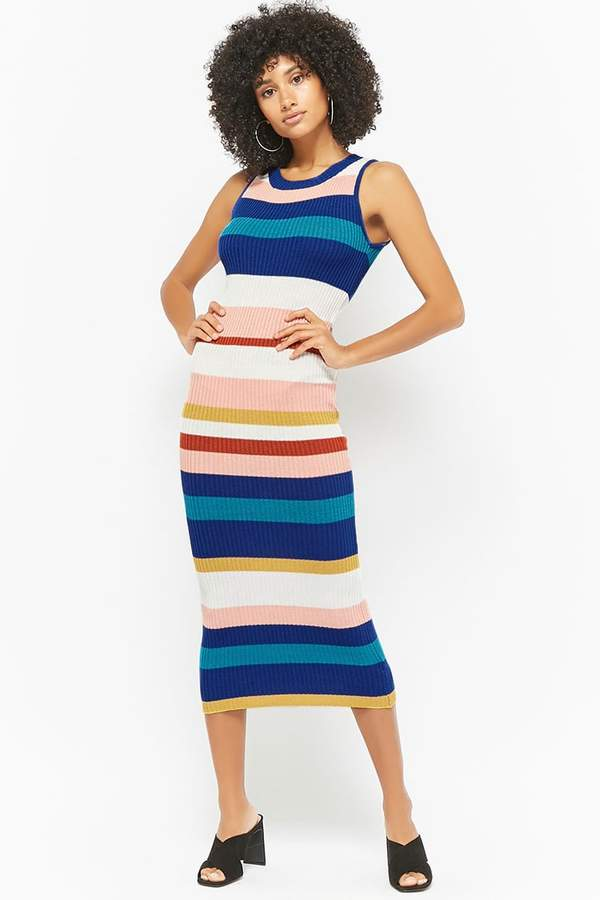 FOREVER 21 Ribbed Knit Striped Dress