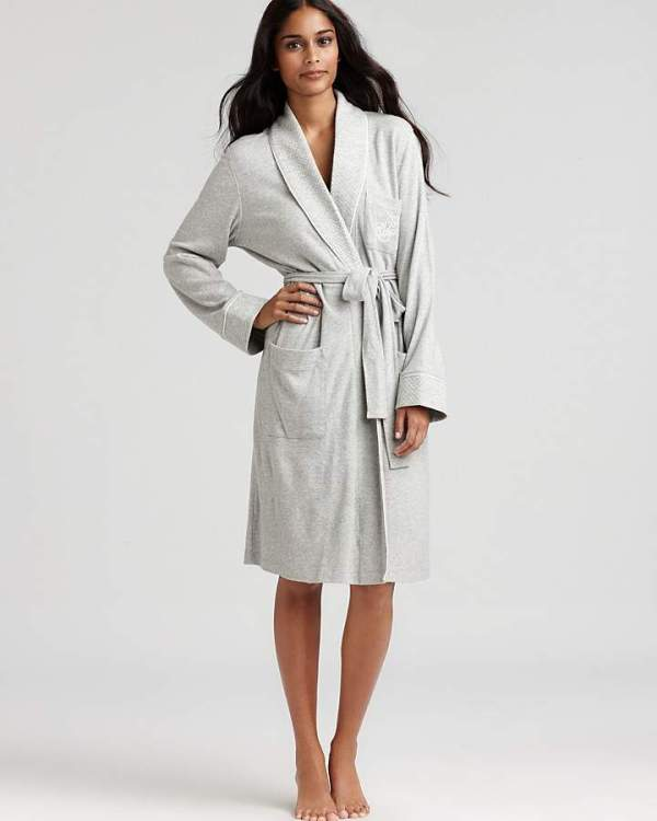 Lauren Ralph Lauren Quilted Collar & Cuffs Short Robe