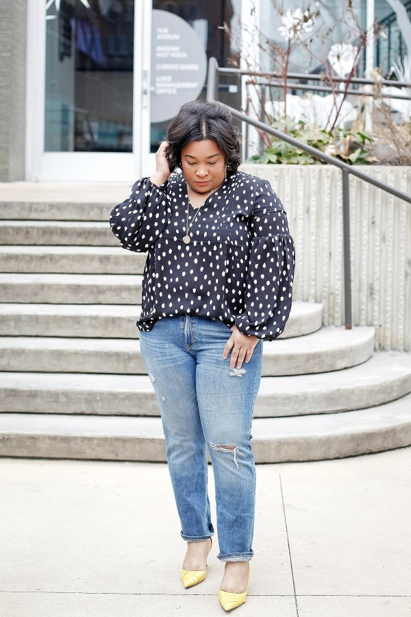 Polka Dot Statement Sleeve Top with Distressed Denim and Yellow Heels