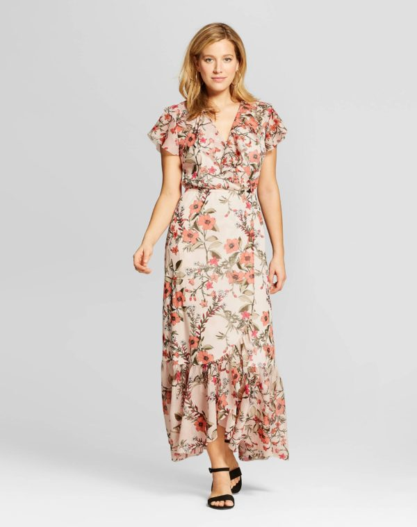 Spenser Jeremy Ruffle Printed Mesh Maxi Dress