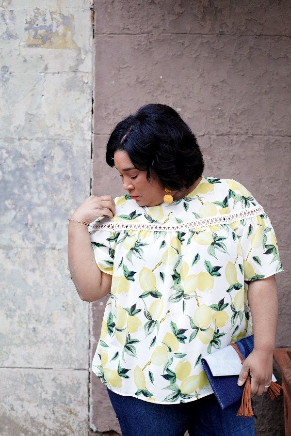 Ella Moon Lemon Print Blouse