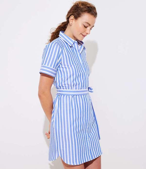 Loft Striped Tie Waist Shirtdress