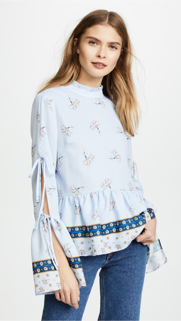Endless Rose Border Lotus Print Blouse