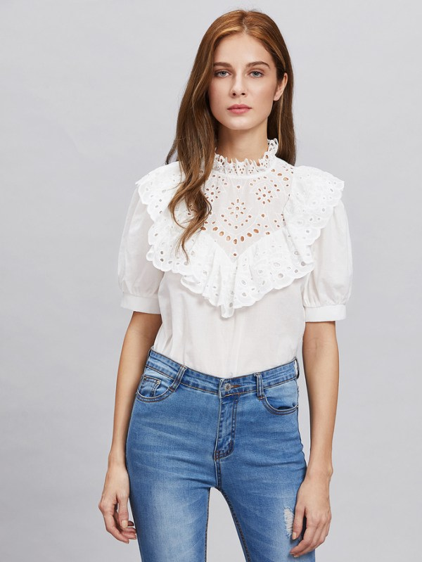Eyelet Embroidered Frill Trim Puff Sleeve Blouse