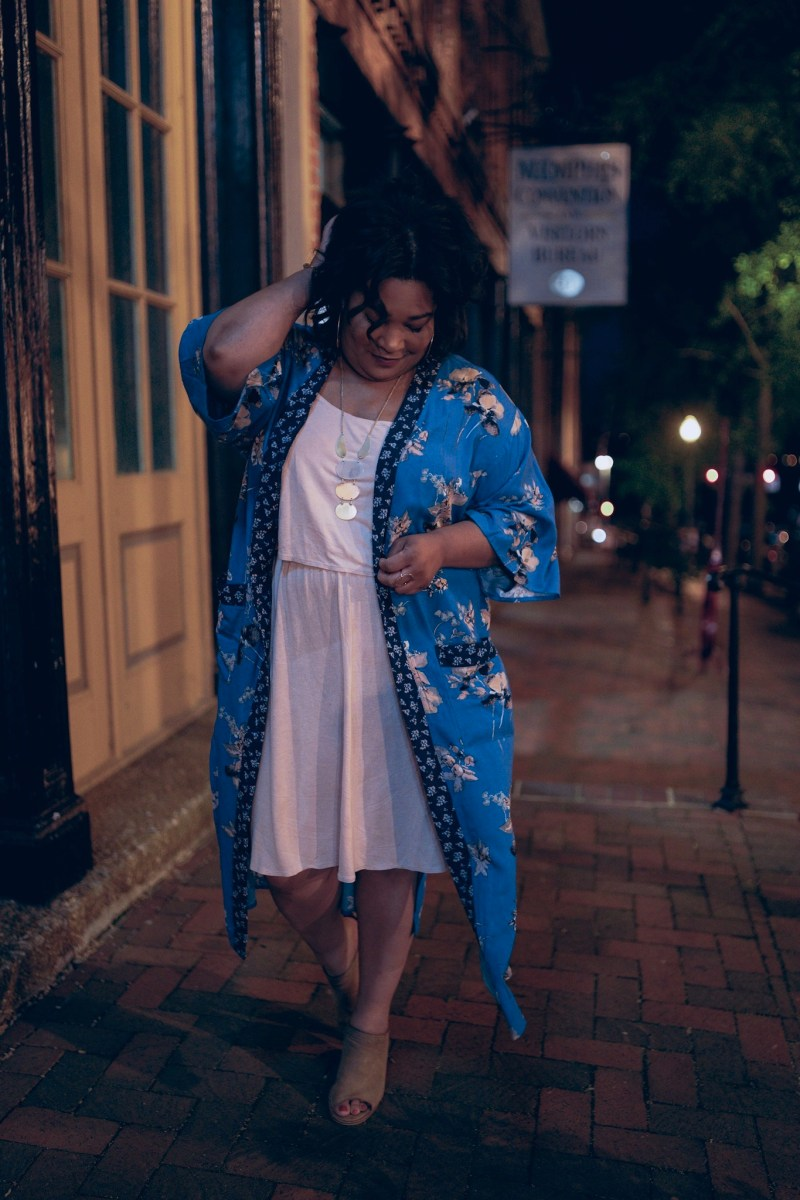 Memphis Nights // Floral Kimono + Blush Dress