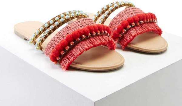 Forever 21 Fringed Pom Pom Sandals