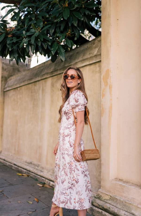 Gal Meets Glam Botanical Garden Print Midi Dress
