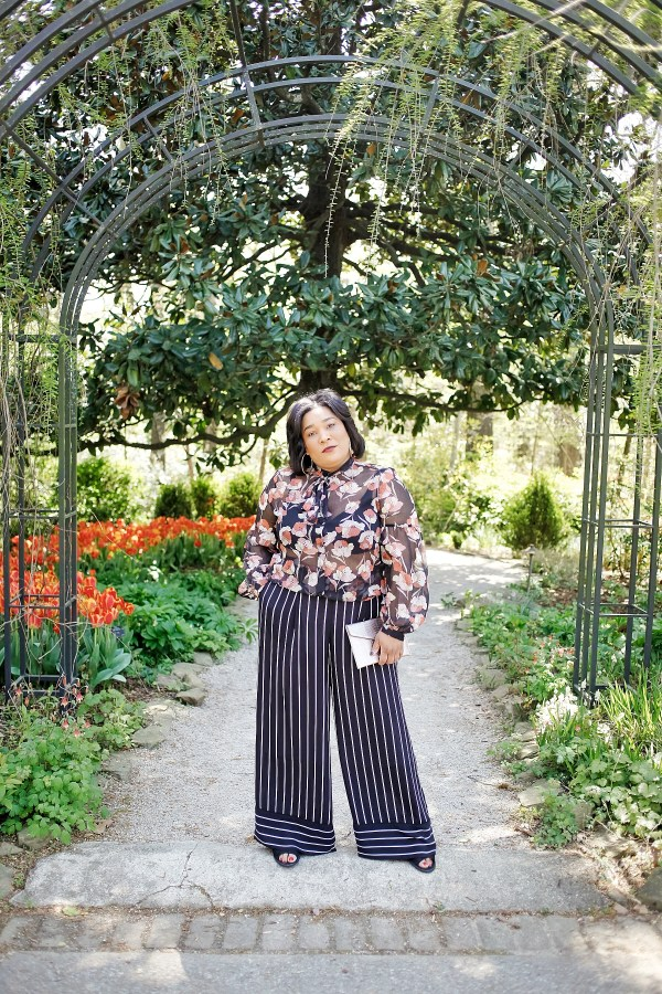 Mixed Prints Floral Blouse Striped Wide Leg Pants