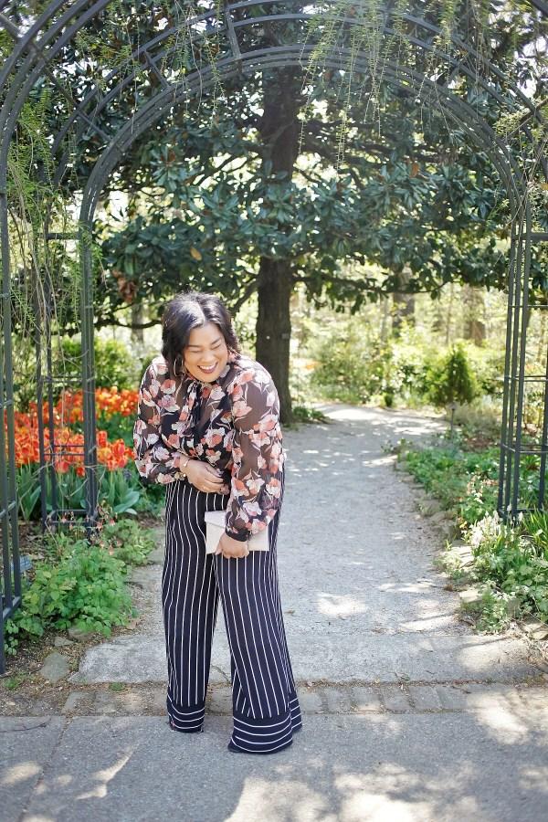 Mixed Prints Floral Blouse Striped Wide Leg Pants