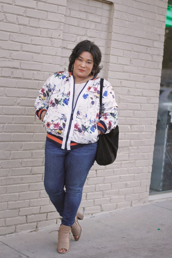 Rachel Roy Brooke Floral Bomber Jacket