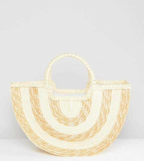 South Beach Half Moon Contrast Stripe Straw Beach Bag