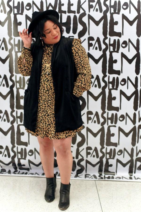 Leopard Print Dress + velvet vest