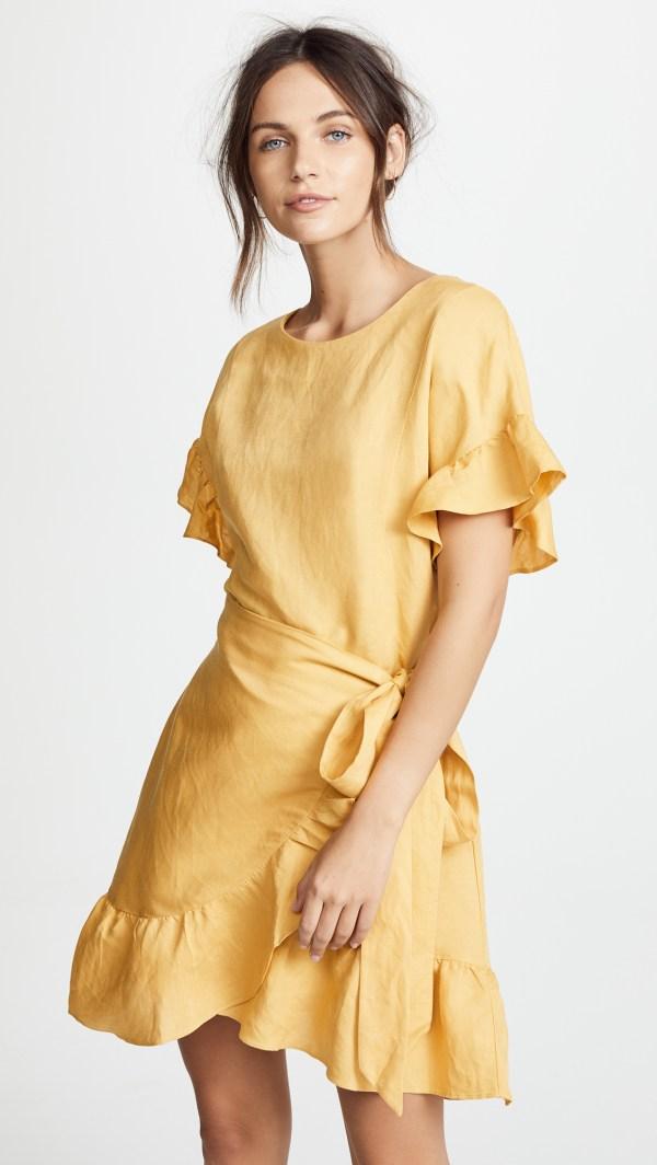 ASTR the Label Linen Ruffle Wrap Dress
