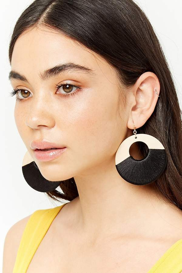 Forever 21 Wooden Drop Hoop Earrings