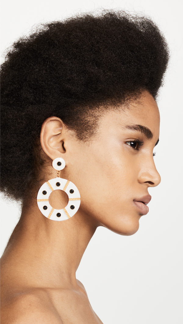 Kenneth Jay Lane Enamel Black Dots Earrings