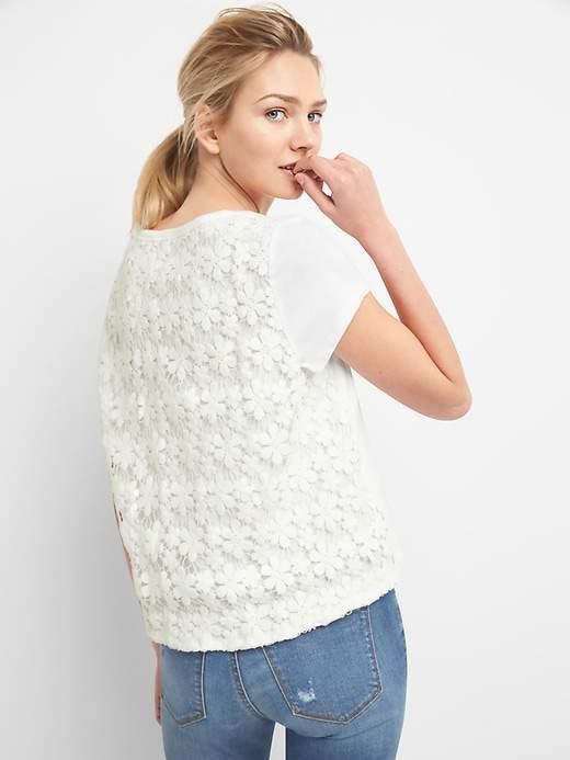 Lace Back Short Sleeve Crewneck T-Shirt