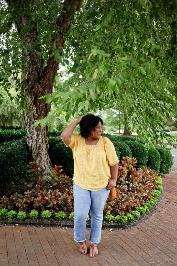 Yellow Top Denim Capris