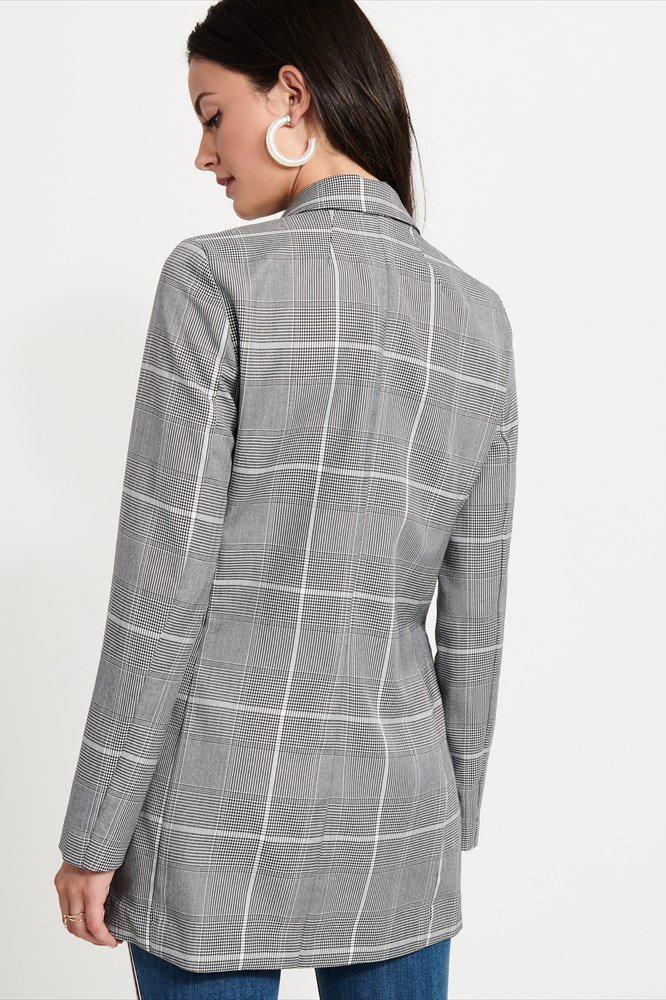 Dynamite Double-Breasted Plaid Blazer