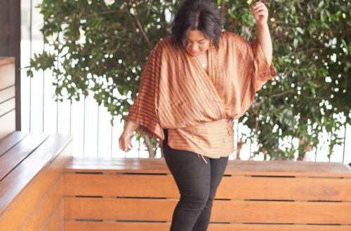Striped Kimono Black Denim