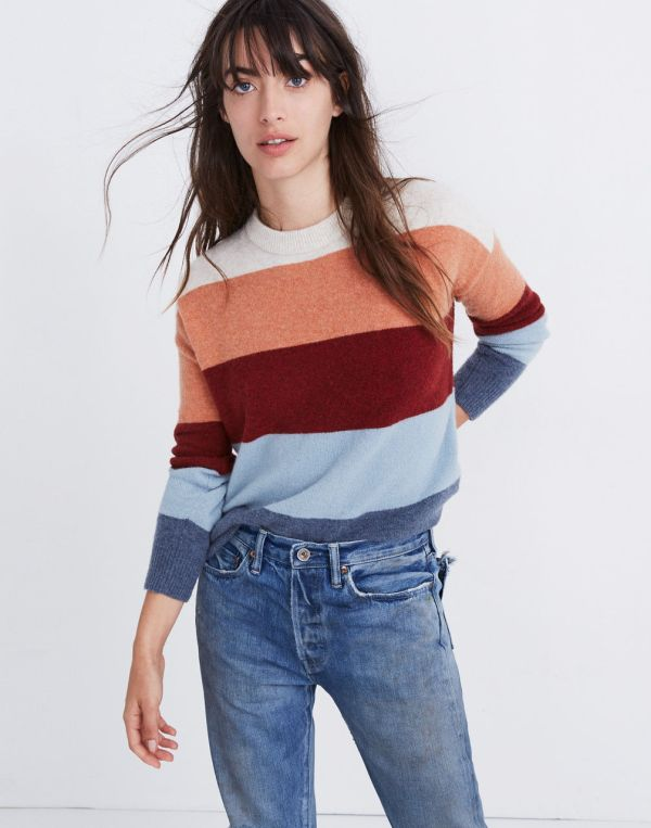Madewell Crofton Striped Pullover Sweater in Coziest Yarn