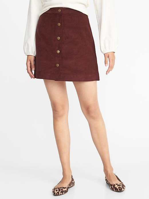 Old Navy Corduroy Snap-Front A-Line Mini