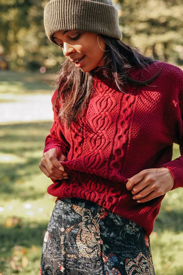 UO Austin Mock-Neck Cable Knit Sweater2