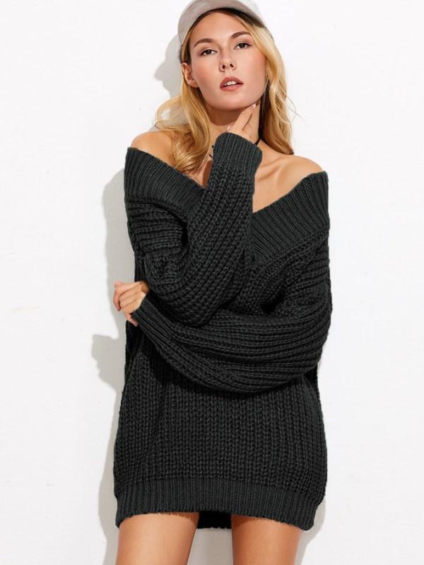 V Neck Drop Shoulder Chunky Knit Sweater