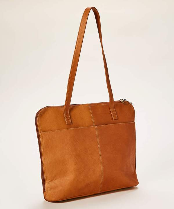 Le Donne Tan Moderno Business Leather Tote