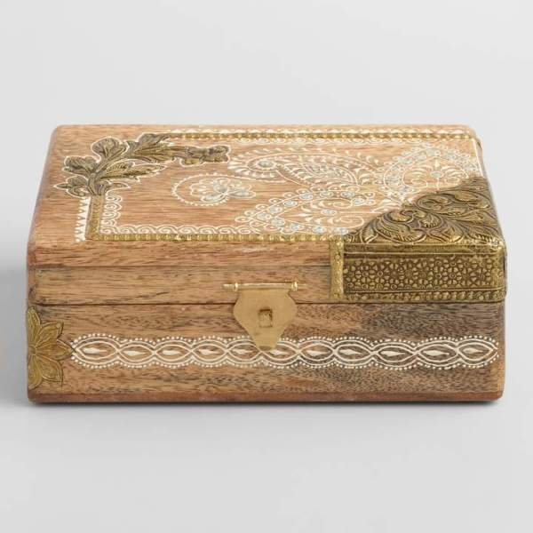 Wood and Embossed Metal Storage Box