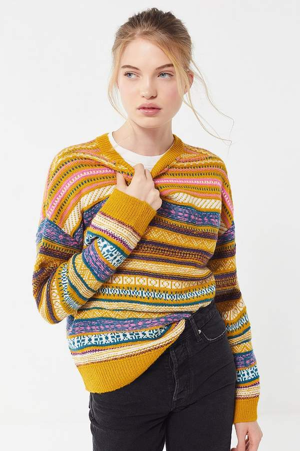 Urban Outfitters UO Taxi Driver Patterned Pullover Sweater