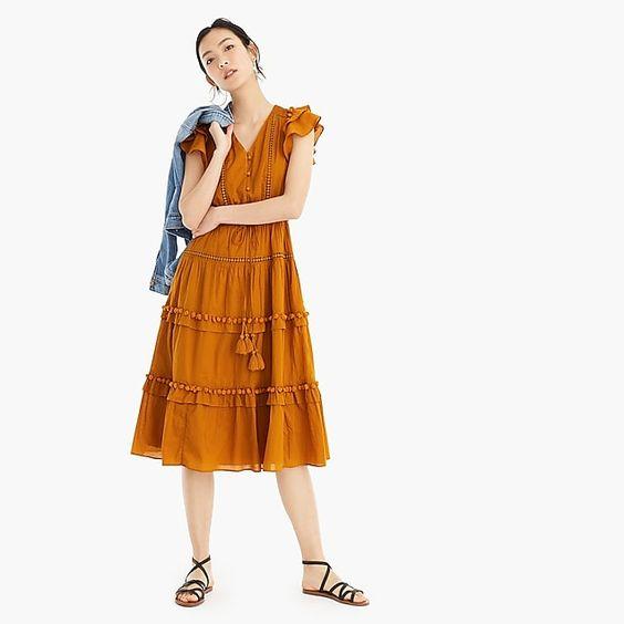 Point Sur Flutter-Sleeve Pom-Pom Midi Dress