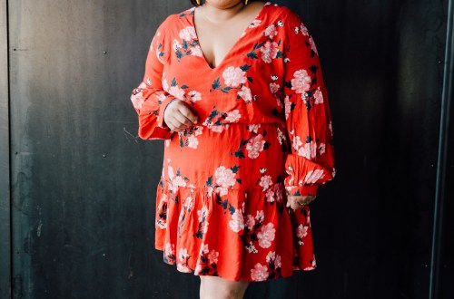 tropical print long sleeve dress