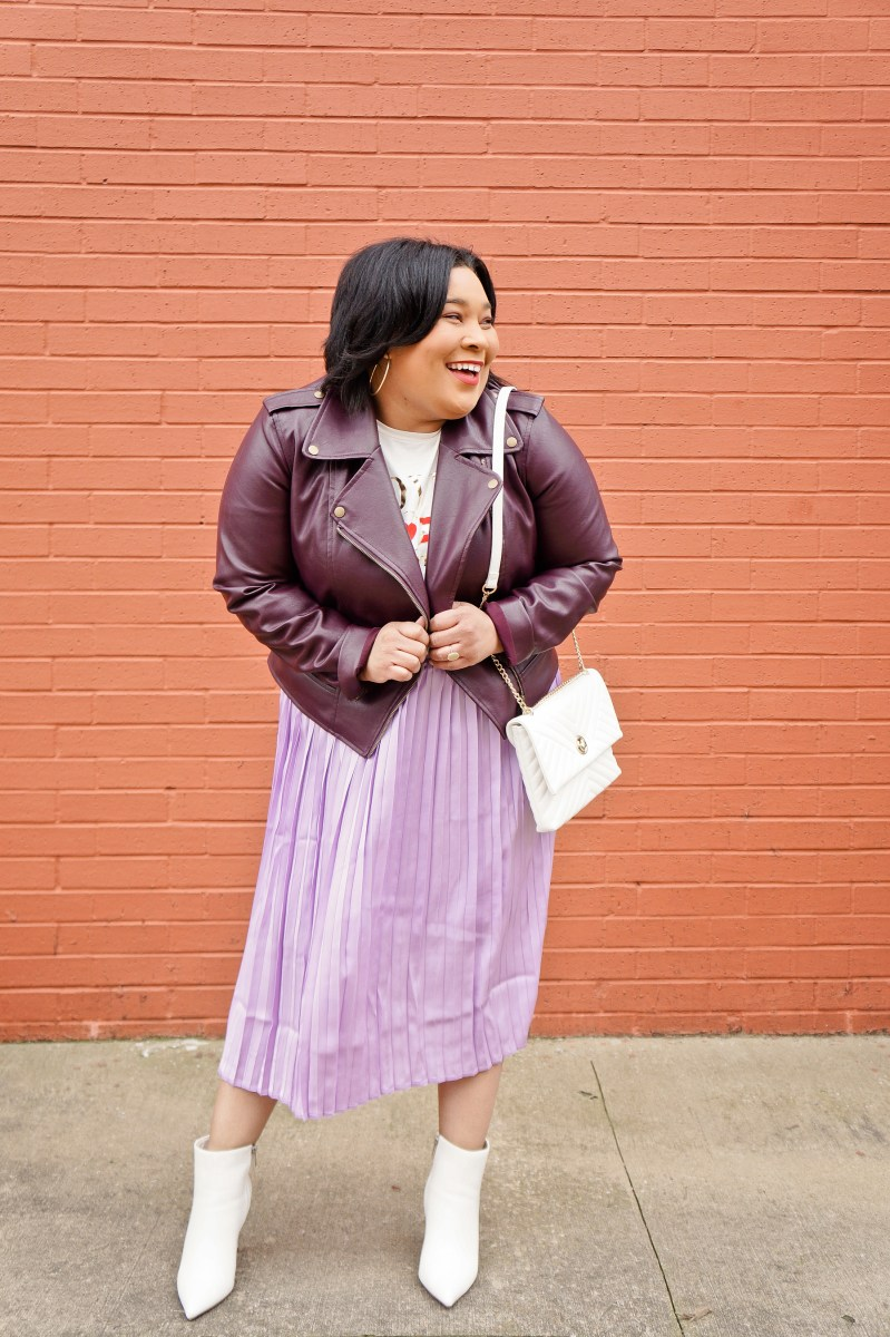 Purple Pleats and Leather