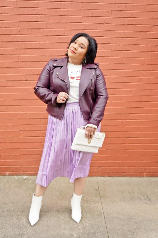 Pleated Midi Skirt Moto Jacket
